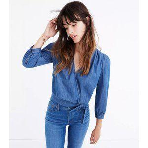 Madewell blue denim wrap cropped v-neck shirt
